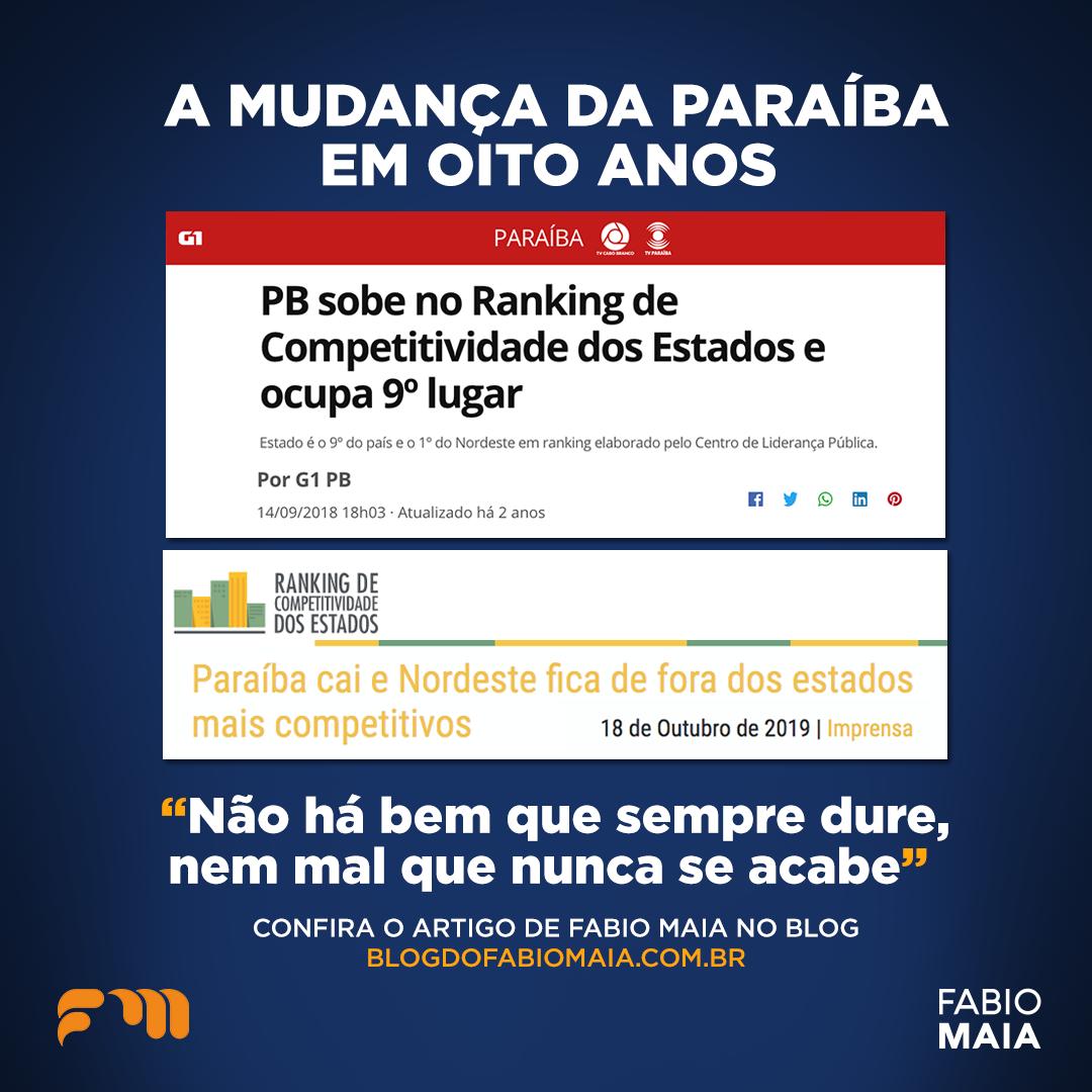 A Mudança da Paraíba em oito anos